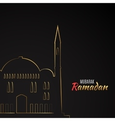 single flat icon mosque isolated on black vector image