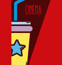 Soda cup cinema cartoon vector