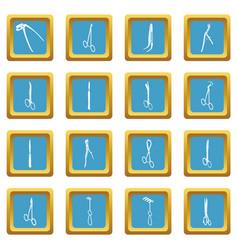 surgeons tools icons set sapphirine square vector image
