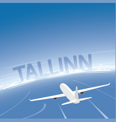 Tallinn skyline flight destination vector