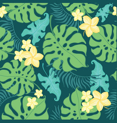 tropical yellow flowers seamless repeat pattern vector image