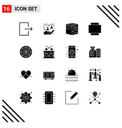 User interface pack 16 basic solid glyphs vector
