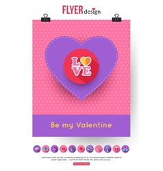 valentines day brochure template and set flat vector image