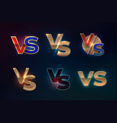 versus logo set vs letters for sport competition vector image