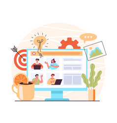 video conference online teamwork chat vector image