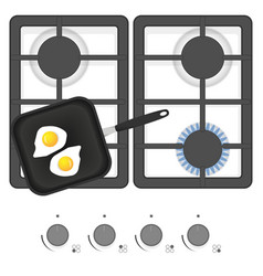 white gas stove with frying pan and fried eggs vector image