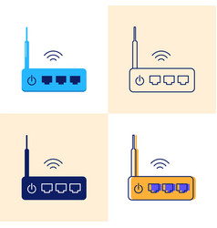 Wifi router icon set in flat and line styles vector