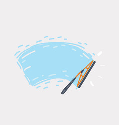 Wiper cleans glass vector