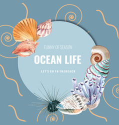 Wreath design with sealife theme shells and coral vector
