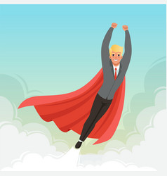 young businessman flying with hands up on blue sky vector image