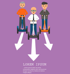 Young businessmen on segway vector