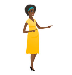 african pregnant woman pointing to the side vector image vector image
