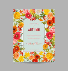 autumn photo frame with maple leaves and flowers vector image