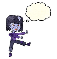 cartoon undead girl with thought bubble vector image vector image
