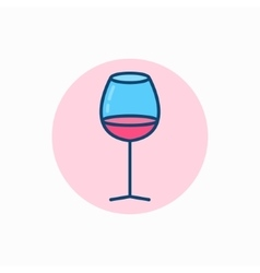 Glass of wine colorful icon vector image vector image