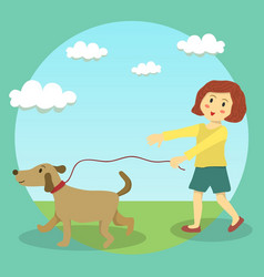 dog walking girl kid vector image vector image