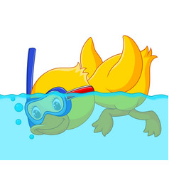 duck snorkeling cartoon vector image