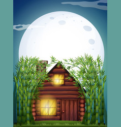Scene with wooden hut at night vector