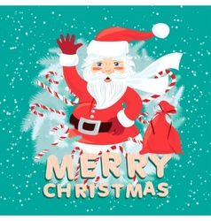 Waving Santa Claus iside the Christmas wreath with vector image vector image