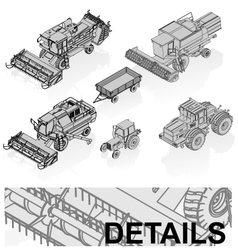 agricultural vehicles set vector image vector image