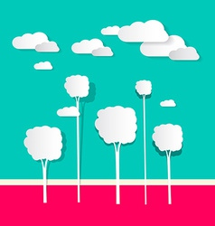 Paper Clouds and Trees vector image