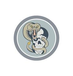 Rattle Snake Curling Around Skull Cartoon vector image vector image