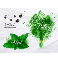 Spices herbs watercolor black pepper mint dill vector image