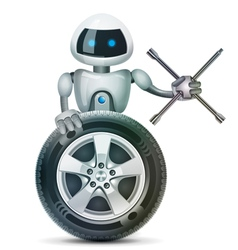 The robot with a wheel and a wheel brace vector image
