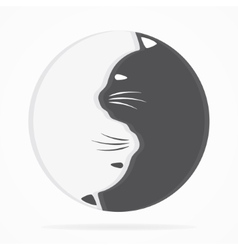 Yin yang cats logo of harmony and balance vector image