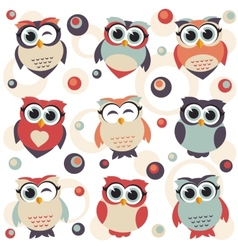 Background with cute owls vector image vector image