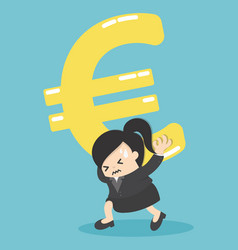 Business woman silver euro money symbol on vector