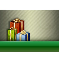 christmas background green stripe gifts vector image