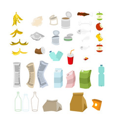 garbage set rubbish icon collection trash sign vector image