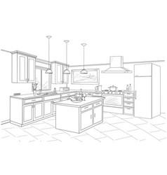 interior sketch of kitchen room outline blueprint vector image