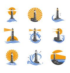 lighthouse among sea waves icons vector image vector image