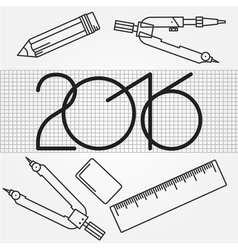 2016 and Drawing tools thin line icon set for web vector