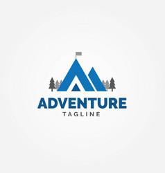 adventure logo mountain shape letter a vector image