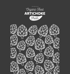 Artichoke vegetable design template hand drawn vector