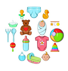 baby icons set cartoon style vector image