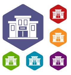 Bank building icons set vector