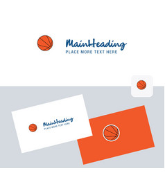 basketball logotype with business card template vector image