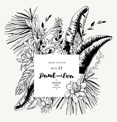 black white greeting card tropical vector image