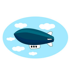 blue airship in sky on white background vector image