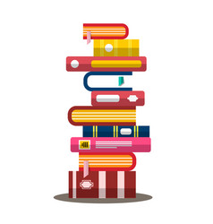 Book flat design heap pile of books vector