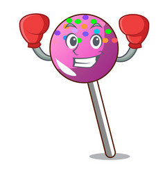 Boxing lollipop with sprinkles character cartoon vector