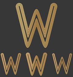 Bronze line w logo design set vector