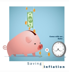 Business concept Idea Saving and Inflation vector image