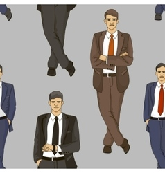 Business men set pattern vector image