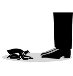 Businessman kneel down under giant feet vector
