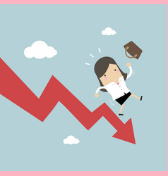 businesswoman on falling down chart vector image